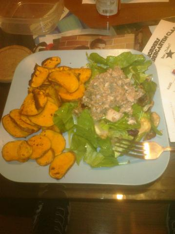Tuna on Salad & Paleo Yam chip/fry things
