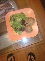 Grass fed burgers & spicy spring mix